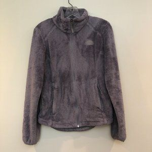 🍁The North Face Fuzzy Zip Up Light Grey Jacket XS